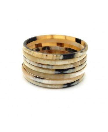 Bracelets semainier clair poli, en corne de zébu