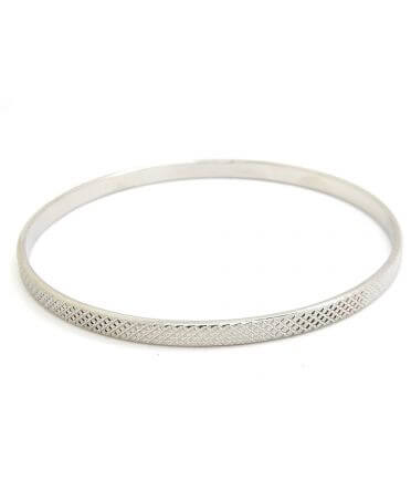 Bangle bracelet - Checkered Palladium