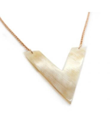 Vega necklace - Horn and rose gold