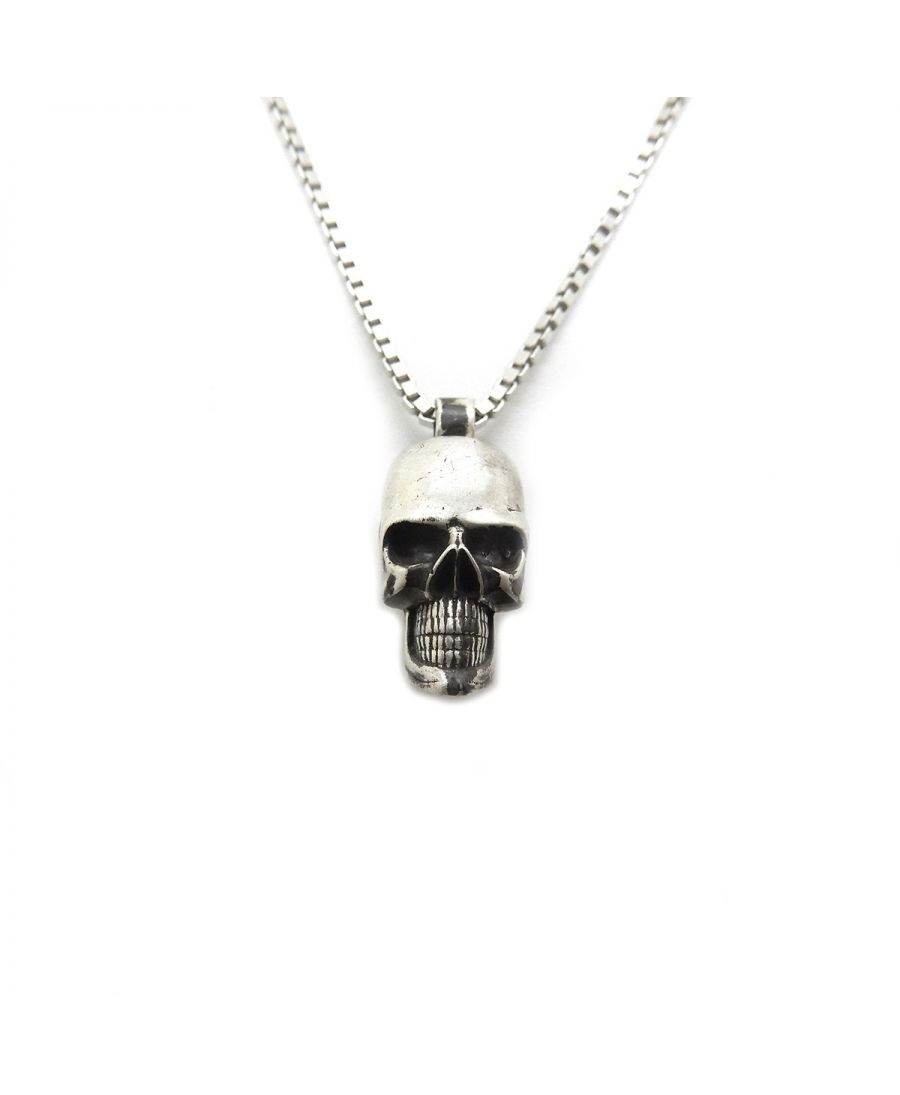 elegant silver necklace memento once in it small composed finely is at can worn outfits en pendant chain model all easily be rock skull this with a of your worked and